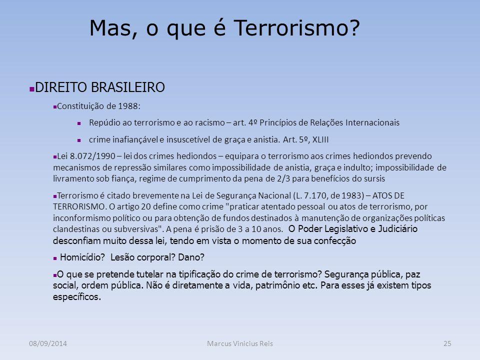 08/09/2014Marcus Vinicius Reis25 Mas, o que é Terrorismo.