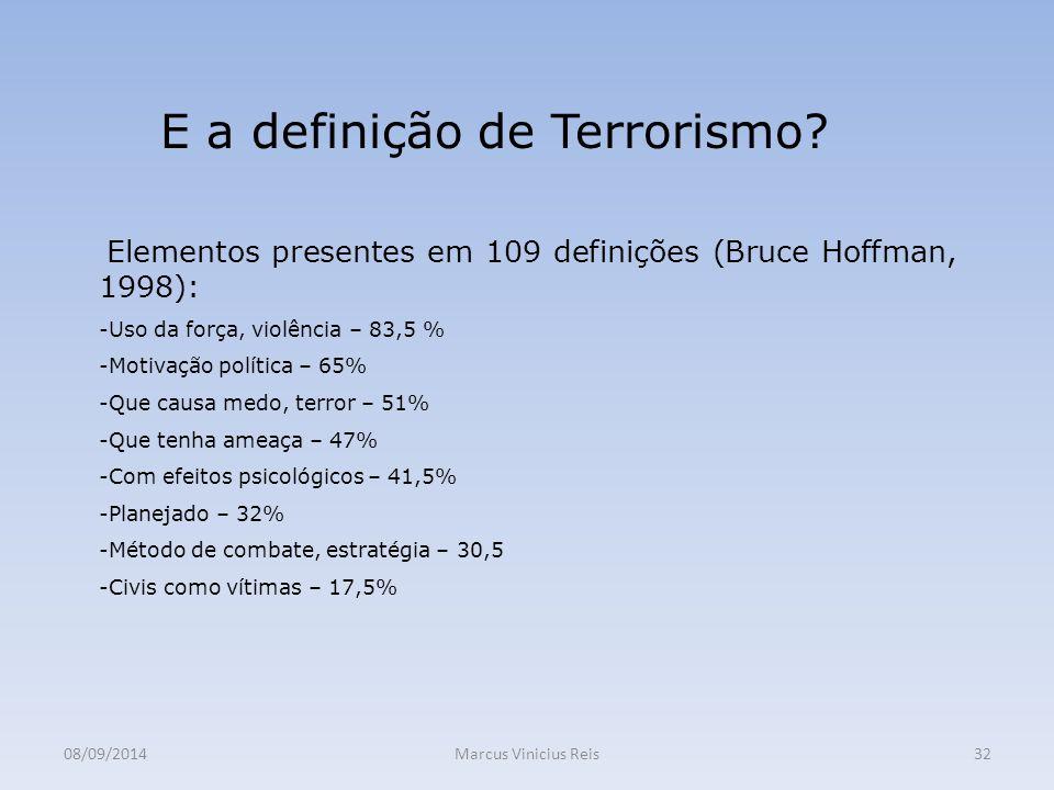 08/09/2014Marcus Vinicius Reis32 E a definição de Terrorismo.