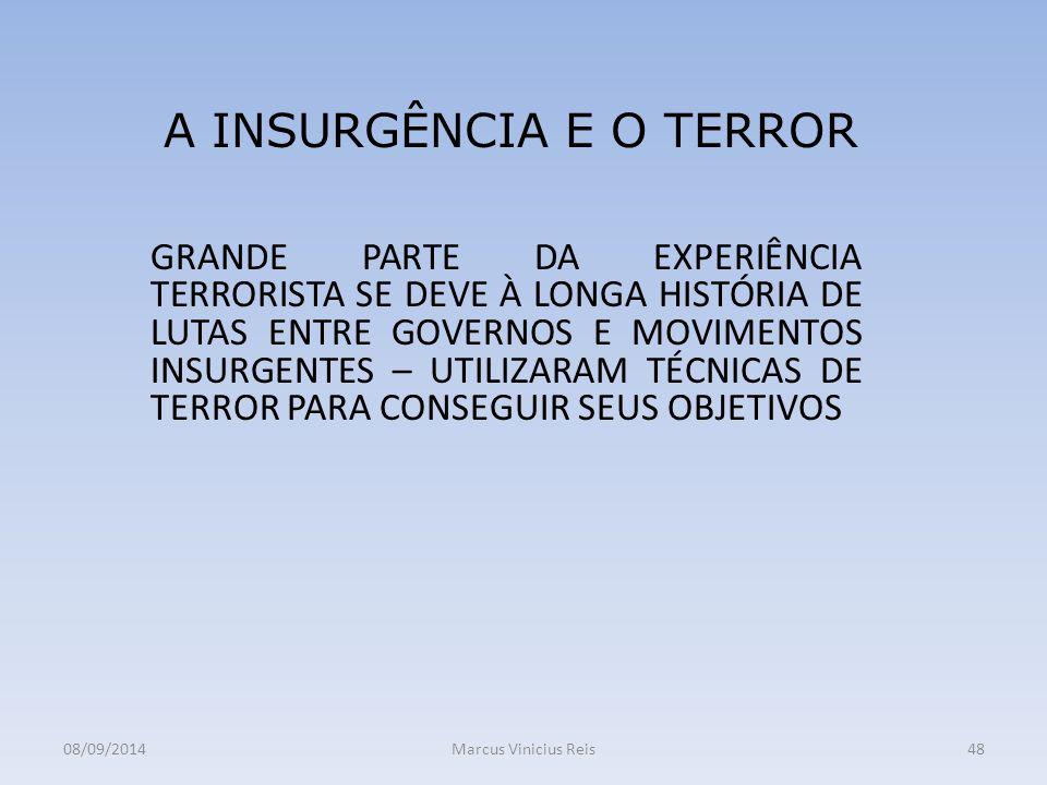 GRANDE PARTE DA EXPERIÊNCIA TERRORISTA SE DEVE À LONGA HISTÓRIA DE LUTAS ENTRE GOVERNOS E MOVIMENTOS INSURGENTES – UTILIZARAM TÉCNICAS DE TERROR PARA CONSEGUIR SEUS OBJETIVOS 08/09/2014Marcus Vinicius Reis48 A INSURGÊNCIA E O TERROR
