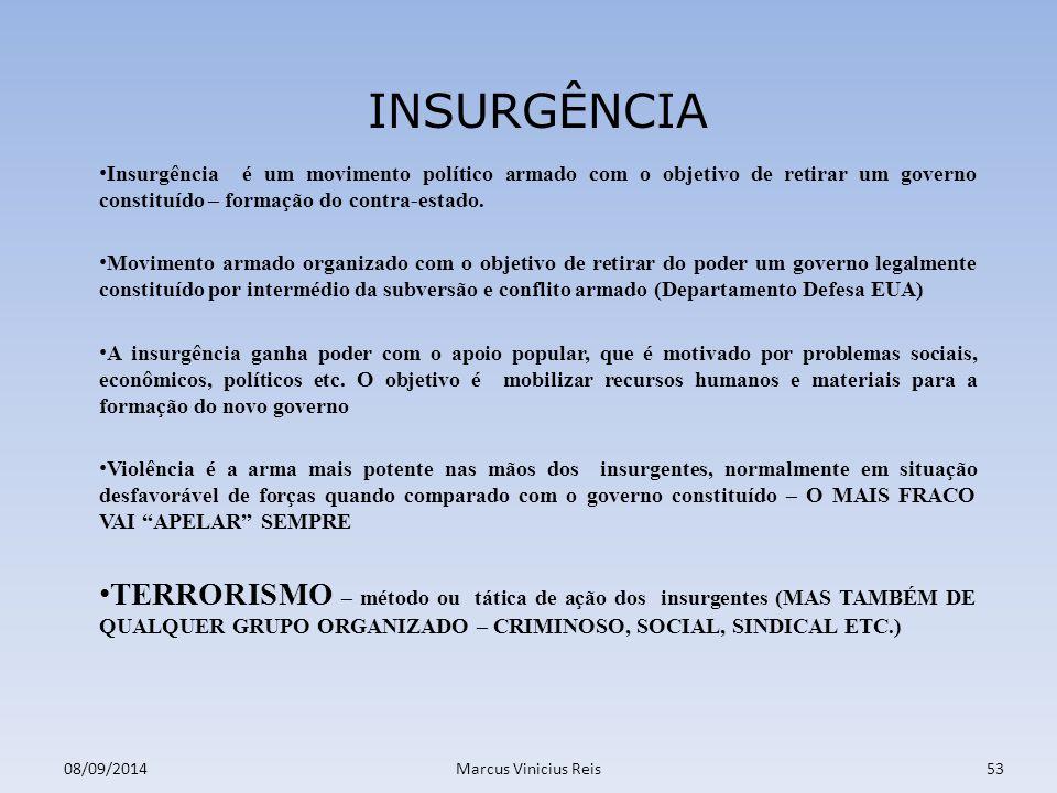 Insurgência é um movimento político armado com o objetivo de retirar um governo constituído – formação do contra-estado.