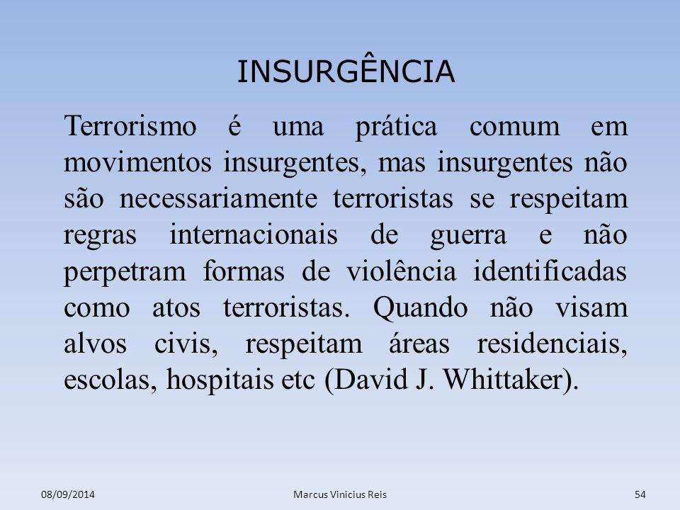 Terrorismo é uma prática comum em movimentos insurgentes, mas insurgentes não são necessariamente terroristas se respeitam regras internacionais de guerra e não perpetram formas de violência identificadas como atos terroristas.