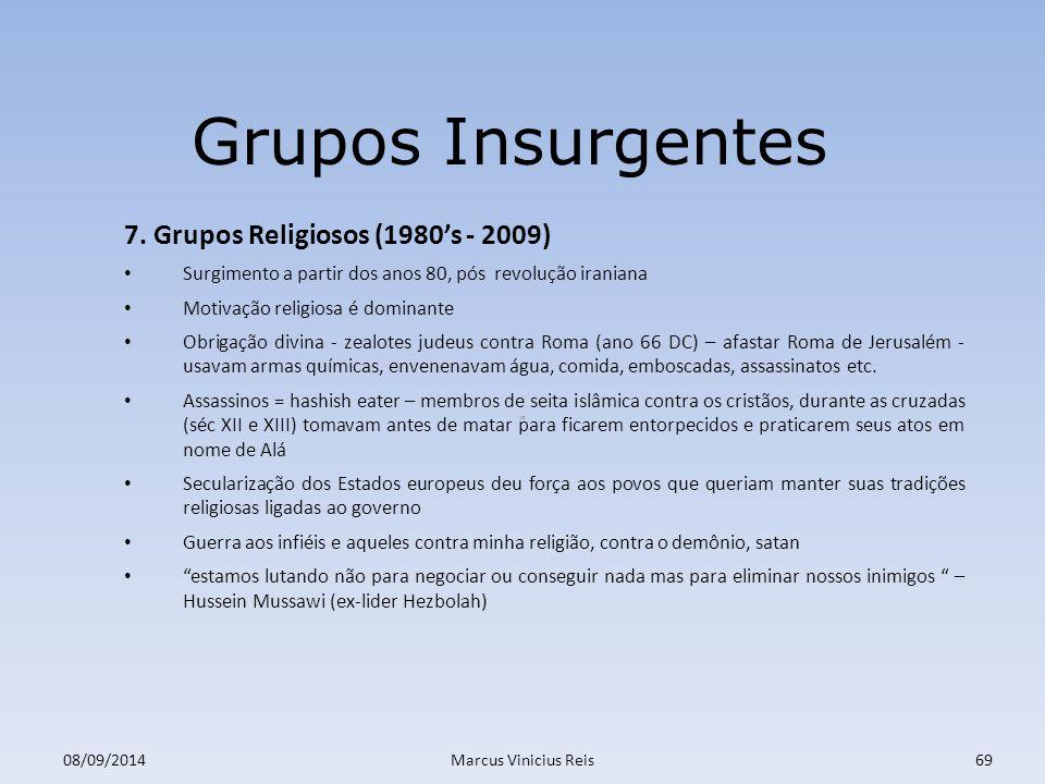 ;a 08/09/2014Marcus Vinicius Reis69 Grupos Insurgentes 7.
