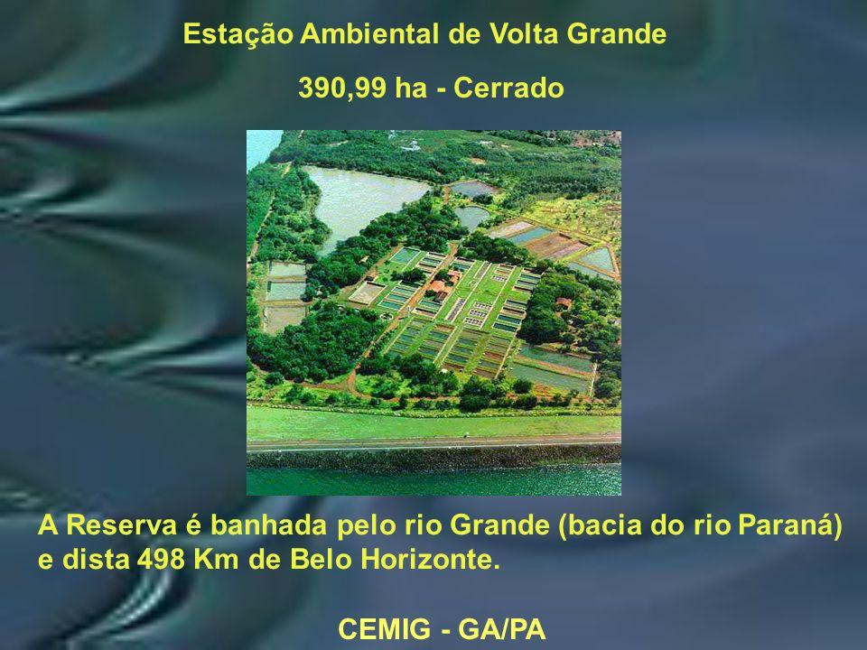 CEMIG - GA/PA Estação Ambiental de Volta Grande 390,99 ha - Cerrado A Reserva é banhada pelo rio Grande (bacia do rio Paraná) e dista 498 Km de Belo Horizonte.