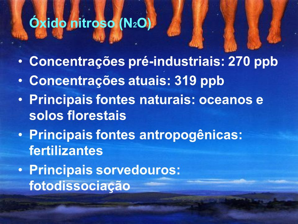 Metano (CH 4 ) Concentrações pré-industriais: 700 ppb Concentrações atuais: 1774 ppb Principais fontes naturais: pântanos, oceanos, florestas e térmit