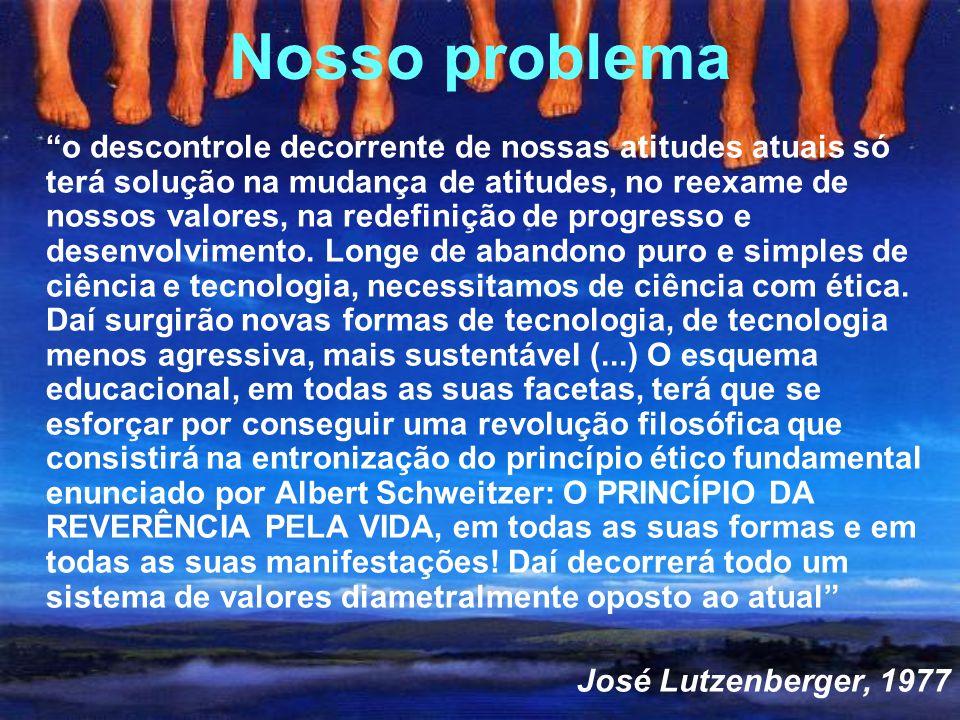 Nosso problema o descontrole decorrente de nossas atitudes atuais só terá solução na mudança de atitudes, no reexame de nossos valores, na redefinição de progresso e desenvolvimento.
