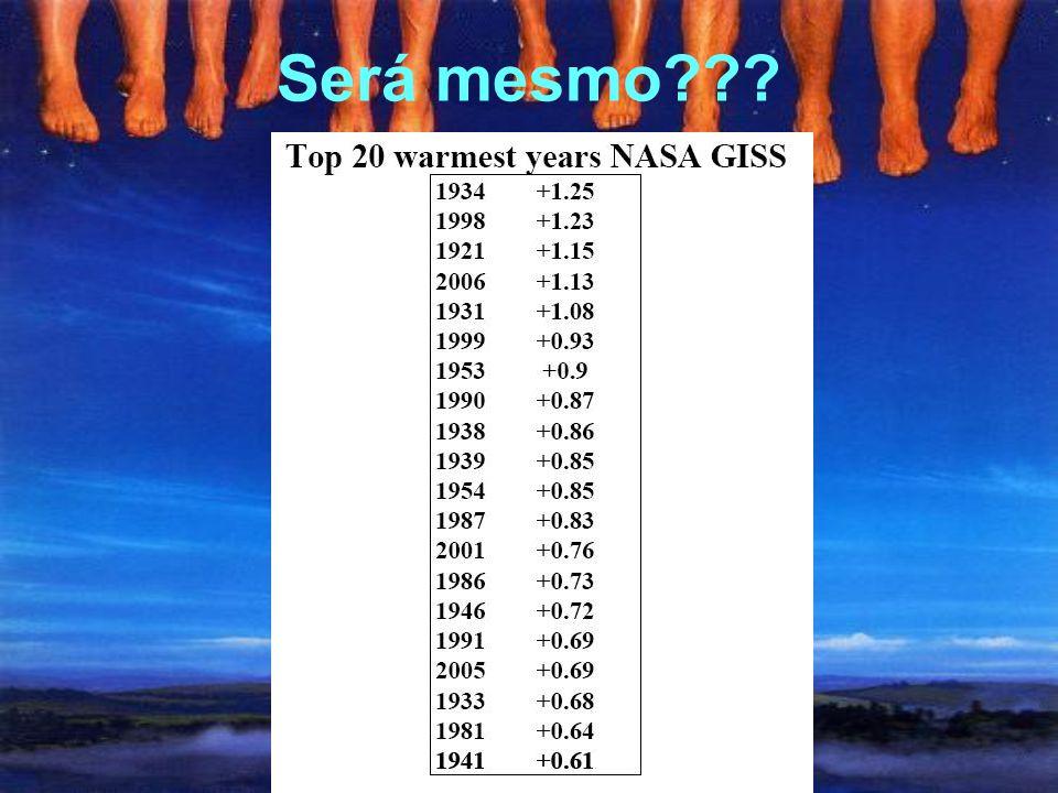 Temperaturas recordes??? Onze dos últimos doze anos (1995 a 2006) foram os mais quentes desde 1850 – a exceção seria 1996 (IPCC, 2007, p. 237)