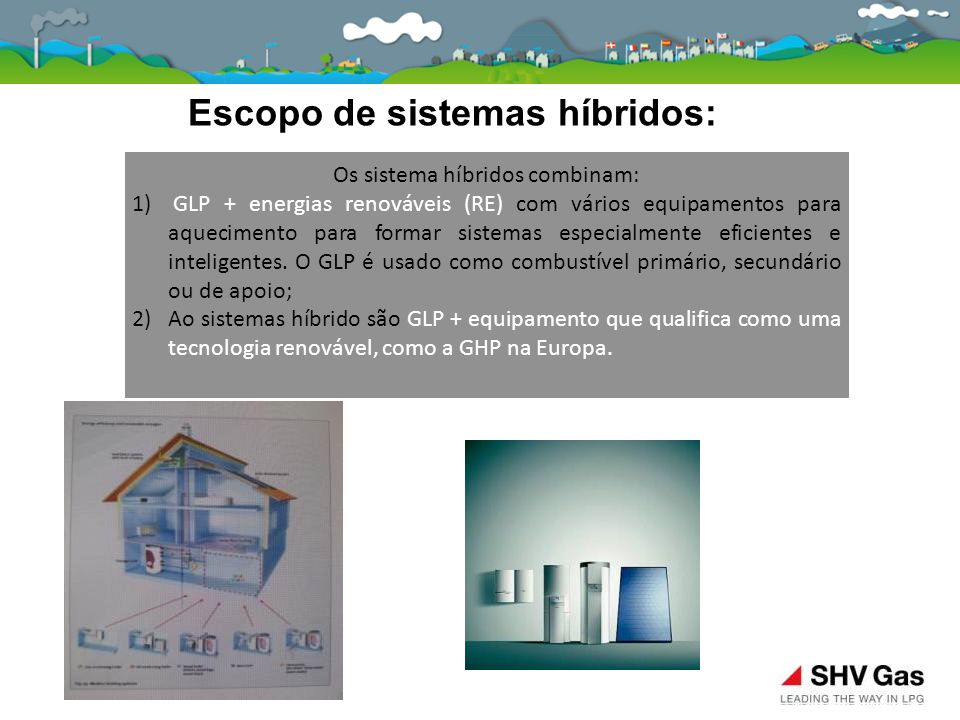 Escopo de sistemas híbridos: Os sistema híbridos combinam: 1) GLP + energias renováveis (RE) com vários equipamentos para aquecimento para formar sist