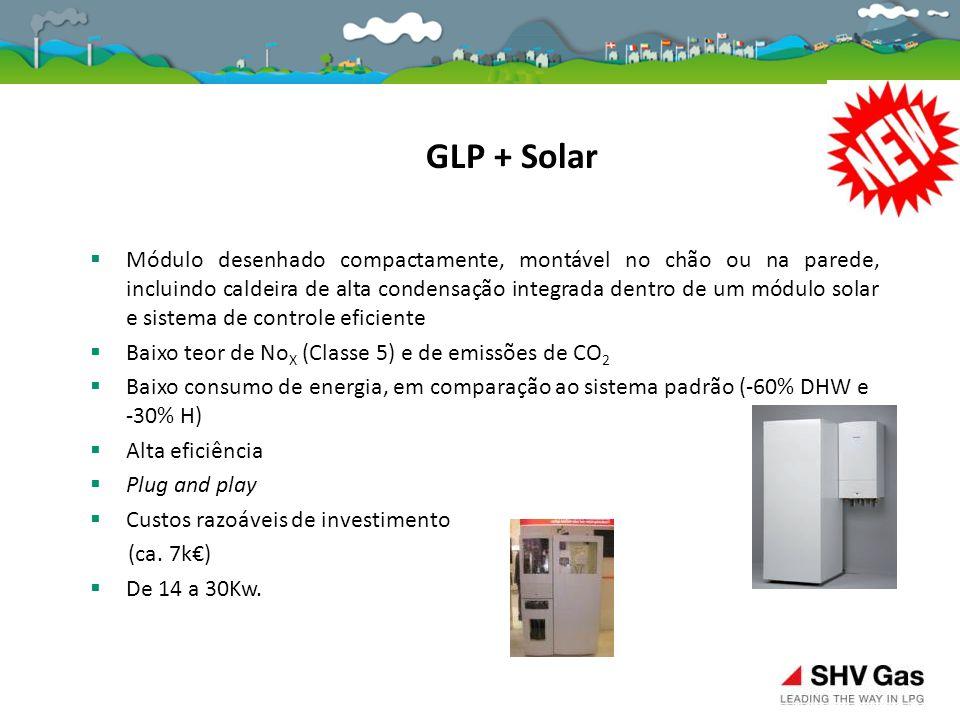  Módulo desenhado compactamente, montável no chão ou na parede, incluindo caldeira de alta condensação integrada dentro de um módulo solar e sistema