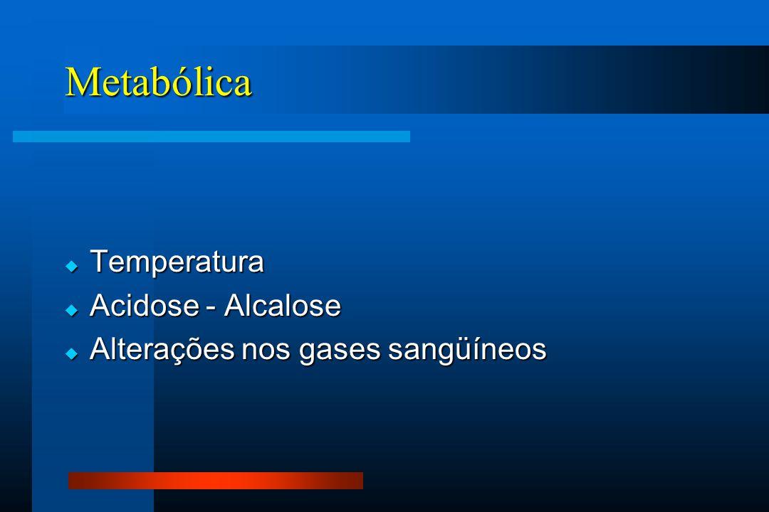 Metabólica  Temperatura  Acidose - Alcalose  Alterações nos gases sangüíneos