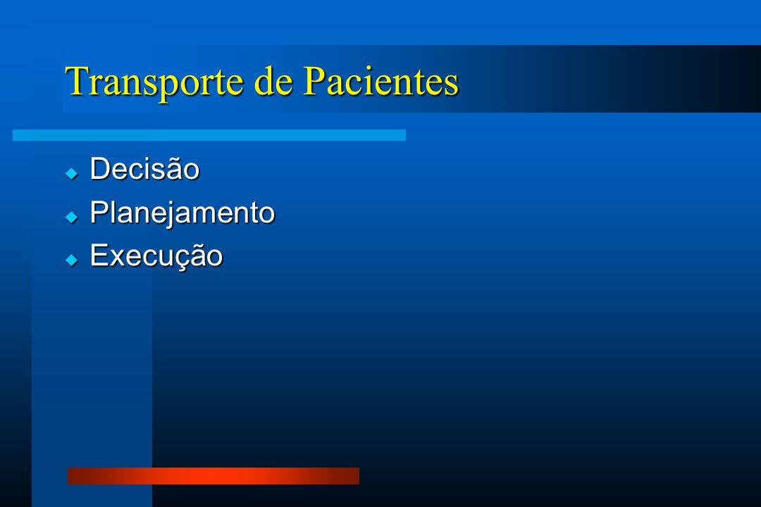 Transporte de Pacientes  Decisão  Planejamento  Execução