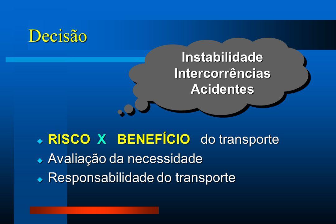 Decisão  RISCO X BENEFÍCIO do transporte  Avaliação da necessidade  Responsabilidade do transporte InstabilidadeIntercorrênciasAcidentes