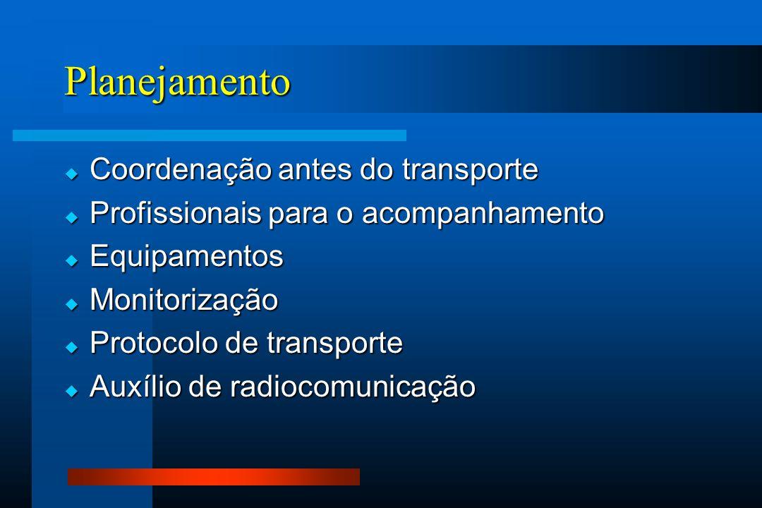 Planejamento  Coordenação antes do transporte  Profissionais para o acompanhamento  Equipamentos  Monitorização  Protocolo de transporte  Auxíli
