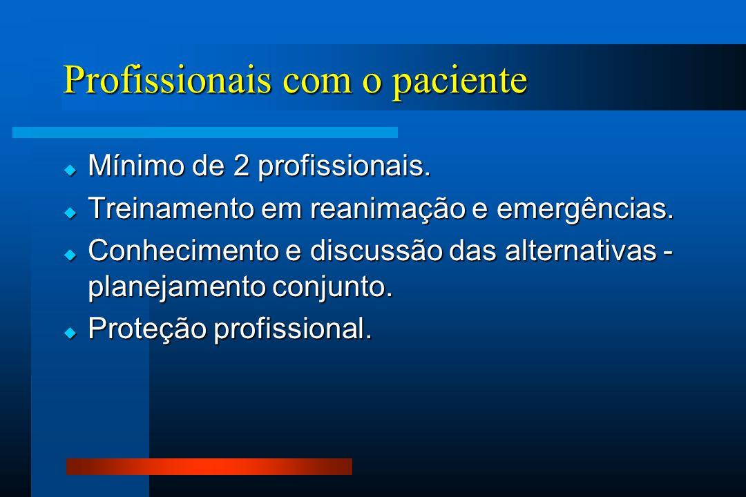 Profissionais com o paciente  Mínimo de 2 profissionais.  Treinamento em reanimação e emergências.  Conhecimento e discussão das alternativas - pla