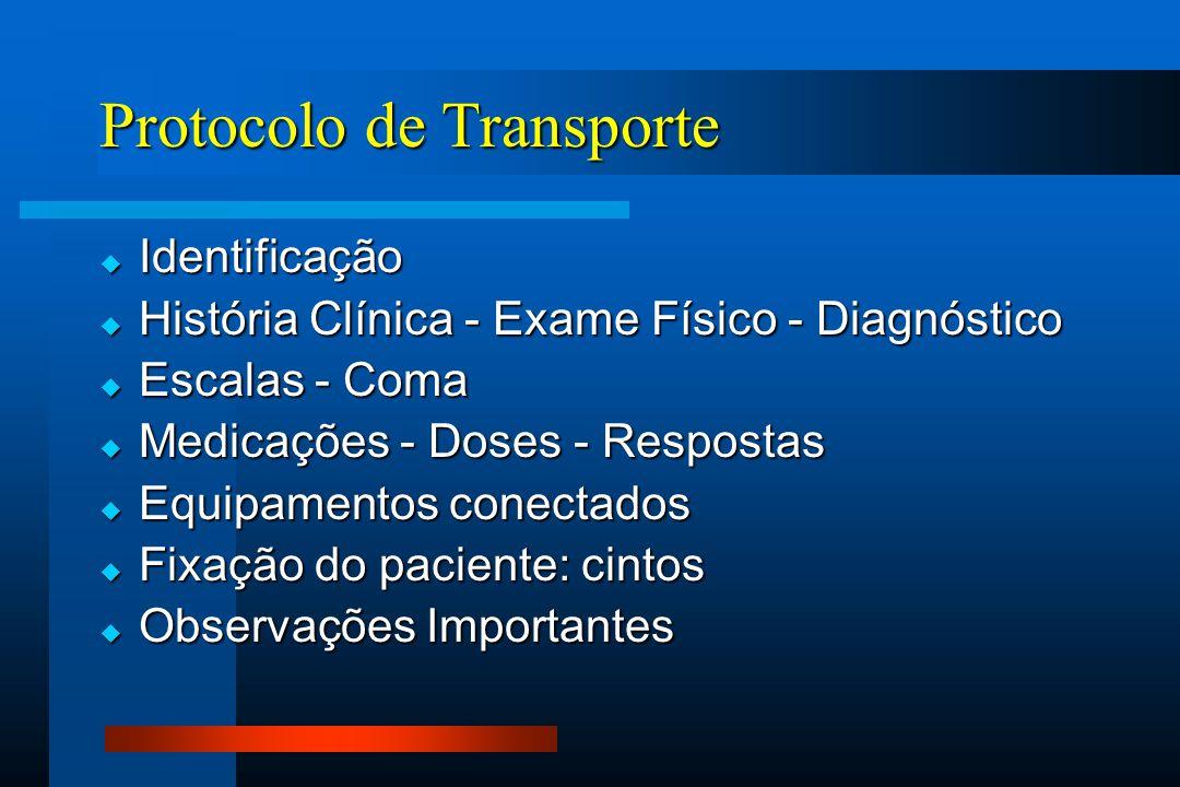 Protocolo de Transporte  Identificação  História Clínica - Exame Físico - Diagnóstico  Escalas - Coma  Medicações - Doses - Respostas  Equipament