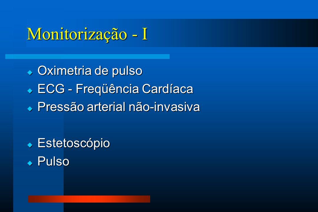 Monitorização - I  Oximetria de pulso  ECG - Freqüência Cardíaca  Pressão arterial não-invasiva  Estetoscópio  Pulso