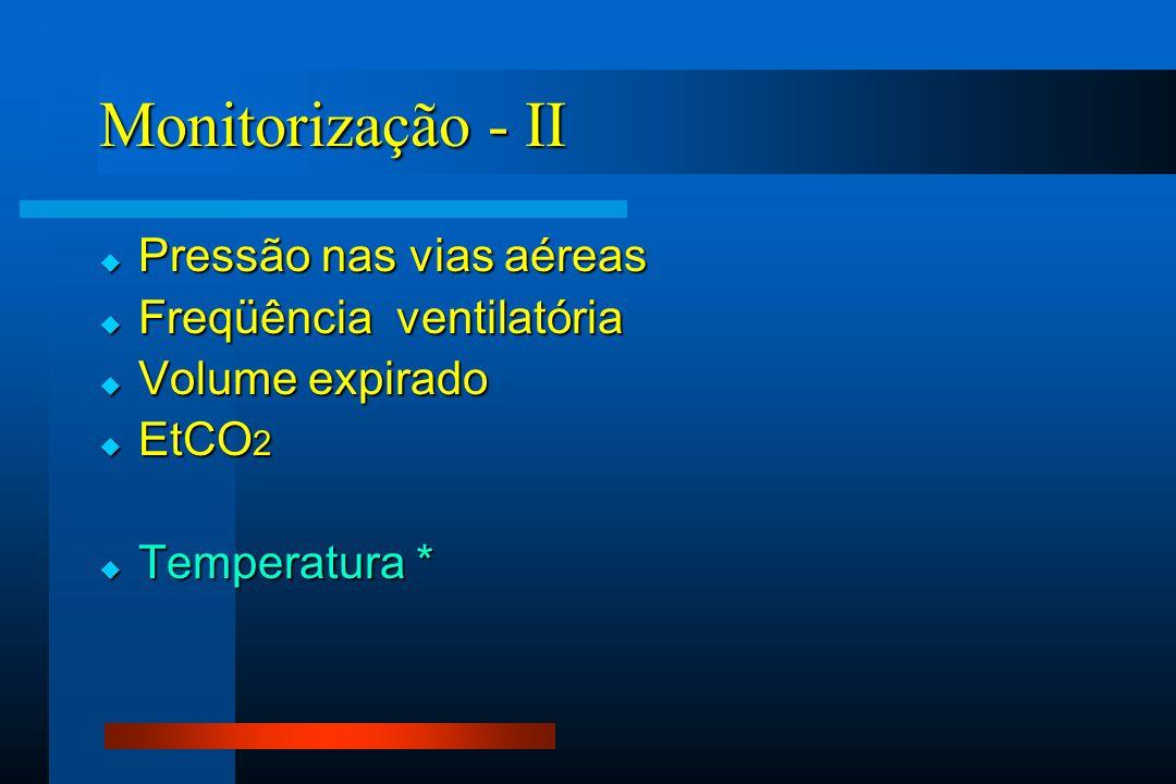  Pressão nas vias aéreas  Freqüência ventilatória  Volume expirado  EtCO 2  Temperatura * Monitorização - II