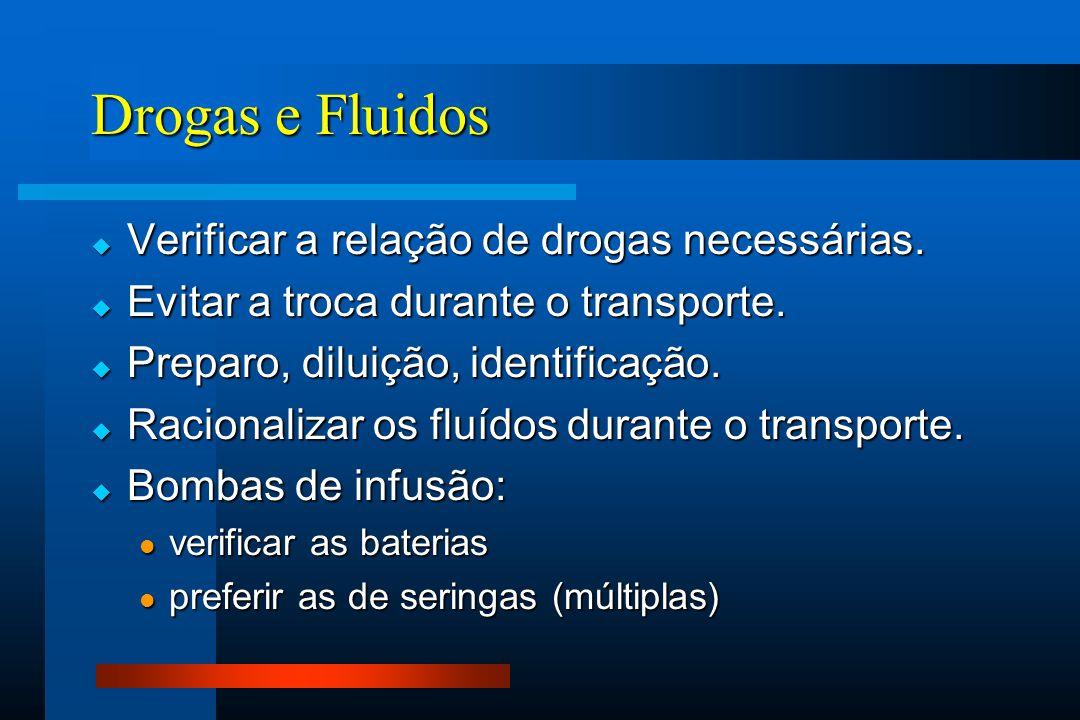 Drogas e Fluidos  Verificar a relação de drogas necessárias.