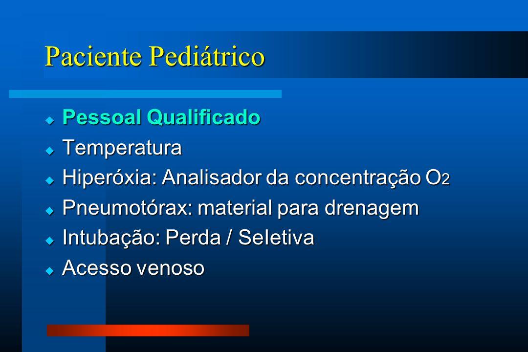 Paciente Pediátrico  Pessoal Qualificado  Temperatura  Hiperóxia: Analisador da concentração O 2  Pneumotórax: material para drenagem  Intubação: Perda / SeIetiva  Acesso venoso