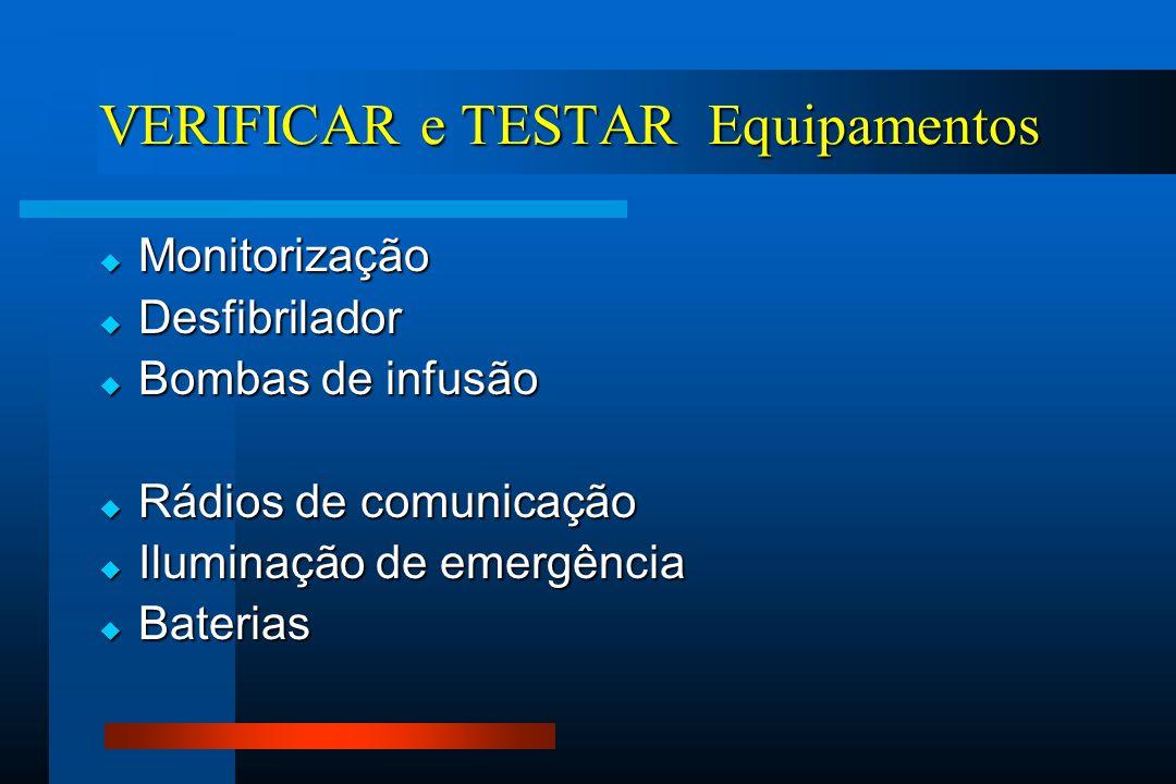  Monitorização  Desfibrilador  Bombas de infusão  Rádios de comunicação  Iluminação de emergência  Baterias VERIFICAR e TESTAR Equipamentos