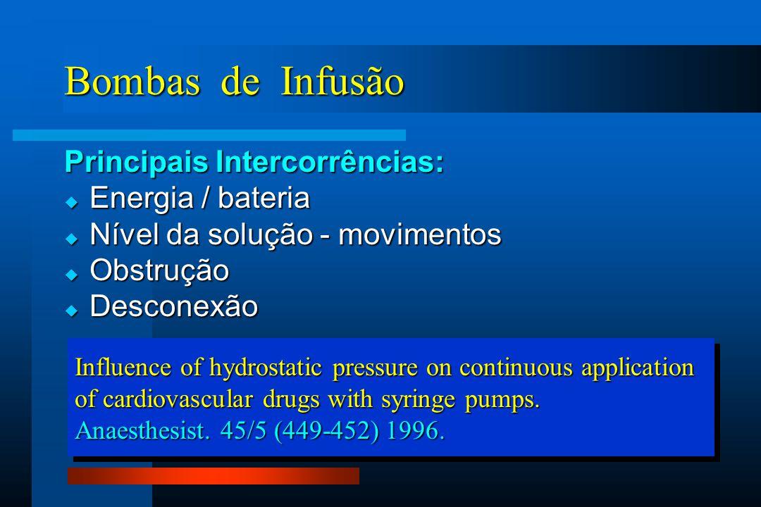 Bombas de Infusão Principais Intercorrências:  Energia / bateria  Nível da solução - movimentos  Obstrução  Desconexão Influence of hydrostatic pressure on continuous application of cardiovascular drugs with syringe pumps.