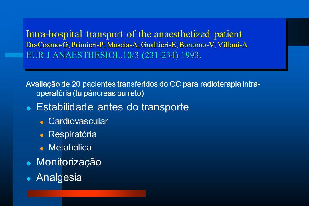 Avaliação de 20 pacientes transferidos do CC para radioterapia intra- operatória (tu pâncreas ou reto)   Estabilidade antes do transporte Cardiovascular Respiratória Metabólica   Monitorização   Analgesia De-Cosmo-G; Primieri-P; Mascia-A; Gualtieri-E; Bonomo-V; Villani-A EUR J ANAESTHESIOL.10/3 (231-234) 1993.
