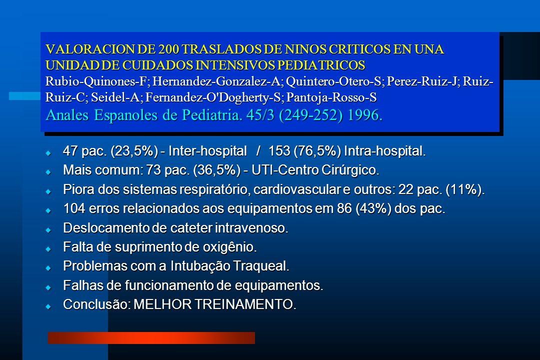 VALORACION DE 200 TRASLADOS DE NINOS CRITICOS EN UNA UNIDAD DE CUIDADOS INTENSIVOS PEDIATRICOS Rubio-Quinones-F; Hernandez-Gonzalez-A; Quintero-Otero-
