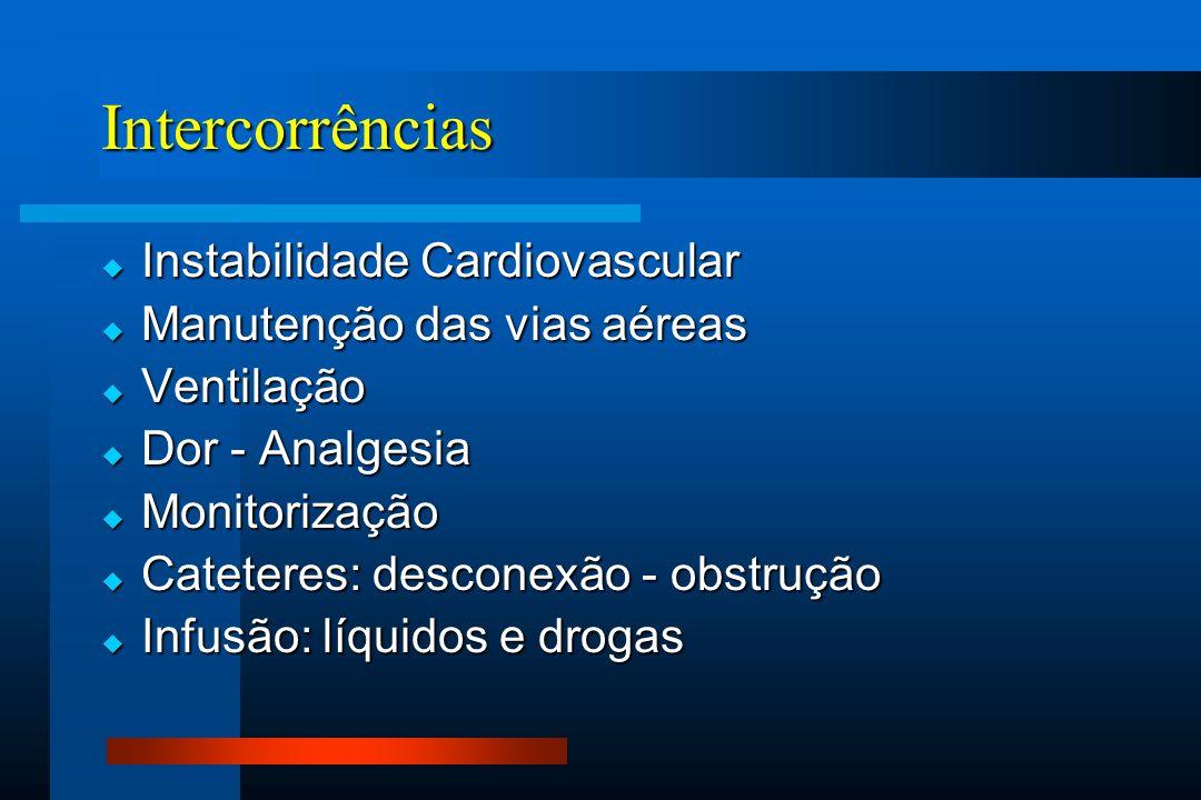 Intercorrências  Instabilidade Cardiovascular  Manutenção das vias aéreas  Ventilação  Dor - Analgesia  Monitorização  Cateteres: desconexão - obstrução  Infusão: líquidos e drogas