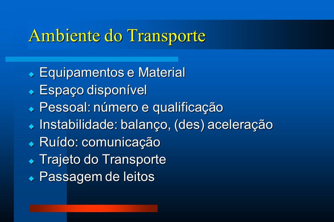 Ambiente do Transporte  Equipamentos e Material  Espaço disponível  Pessoal: número e qualificação  Instabilidade: balanço, (des) aceleração  Ruído: comunicação  Trajeto do Transporte  Passagem de leitos