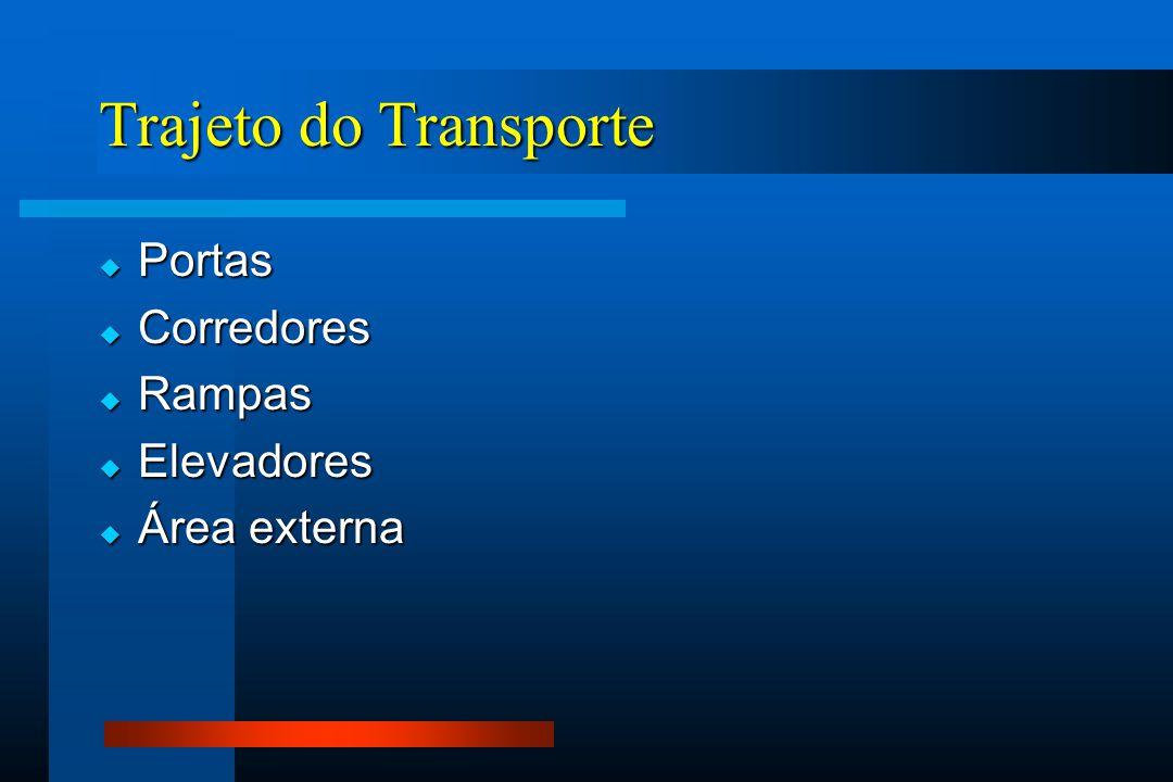 Trajeto do Transporte  Portas  Corredores  Rampas  Elevadores  Área externa