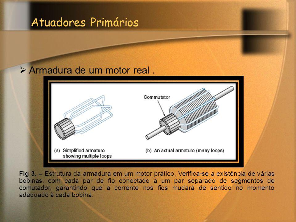 Atuadores Primários  Armadura de um motor real. Fig 3. – Estrutura da armadura em um motor prático. Verifica-se a existência de várias bobinas, com c