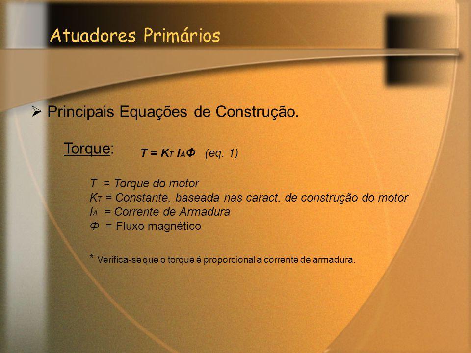 Atuadores Primários Torque:  Principais Equações de Construção. T = K T I A Φ (eq. 1) T = Torque do motor K T = Constante, baseada nas caract. de con