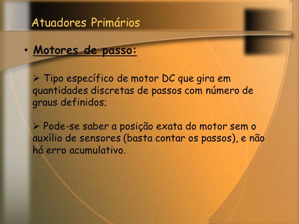 Atuadores Primários Motores de passo:  Tipo específico de motor DC que gira em quantidades discretas de passos com número de graus definidos;  Pode-