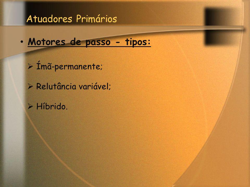 Atuadores Primários Motores de passo - tipos:  Ímã-permanente;  Relutância variável;  Híbrido.
