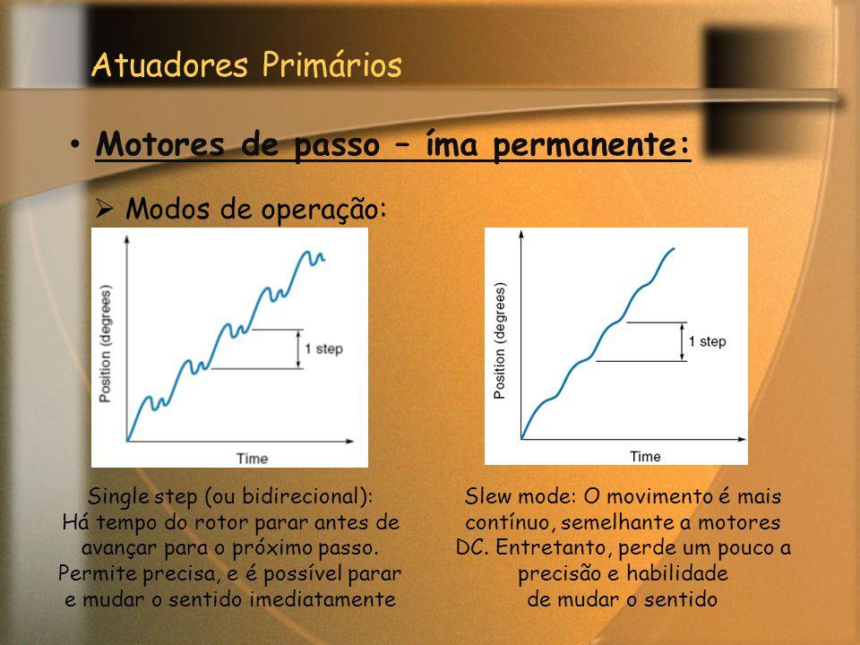 Atuadores Primários Motores de passo – íma permanente:  Modos de operação: Single step (ou bidirecional): Há tempo do rotor parar antes de avançar pa