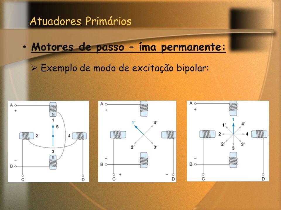 Atuadores Primários Motores de passo – íma permanente:  Exemplo de modo de excitação bipolar: