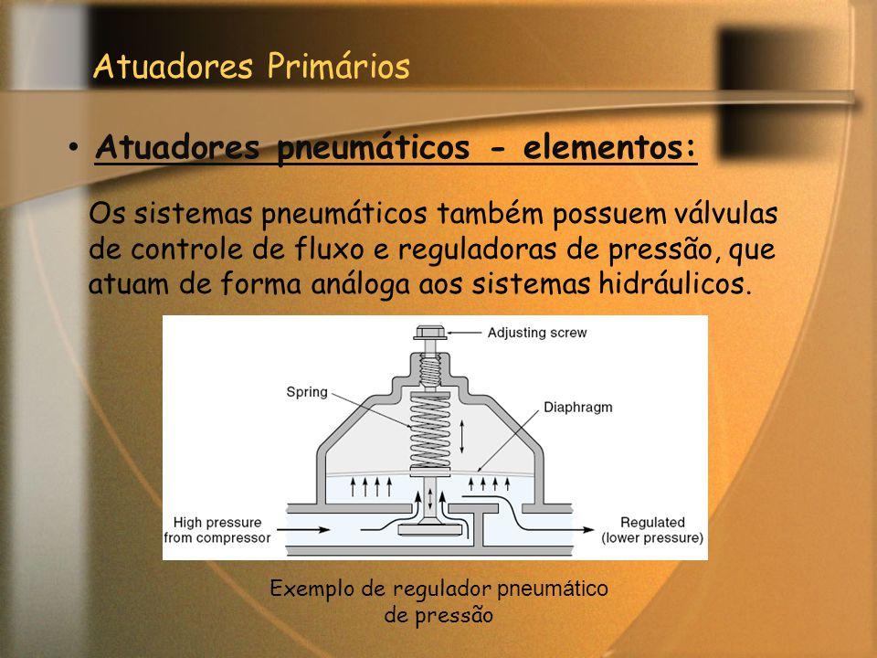 Atuadores Primários Atuadores pneumáticos - elementos: Os sistemas pneumáticos também possuem válvulas de controle de fluxo e reguladoras de pressão,