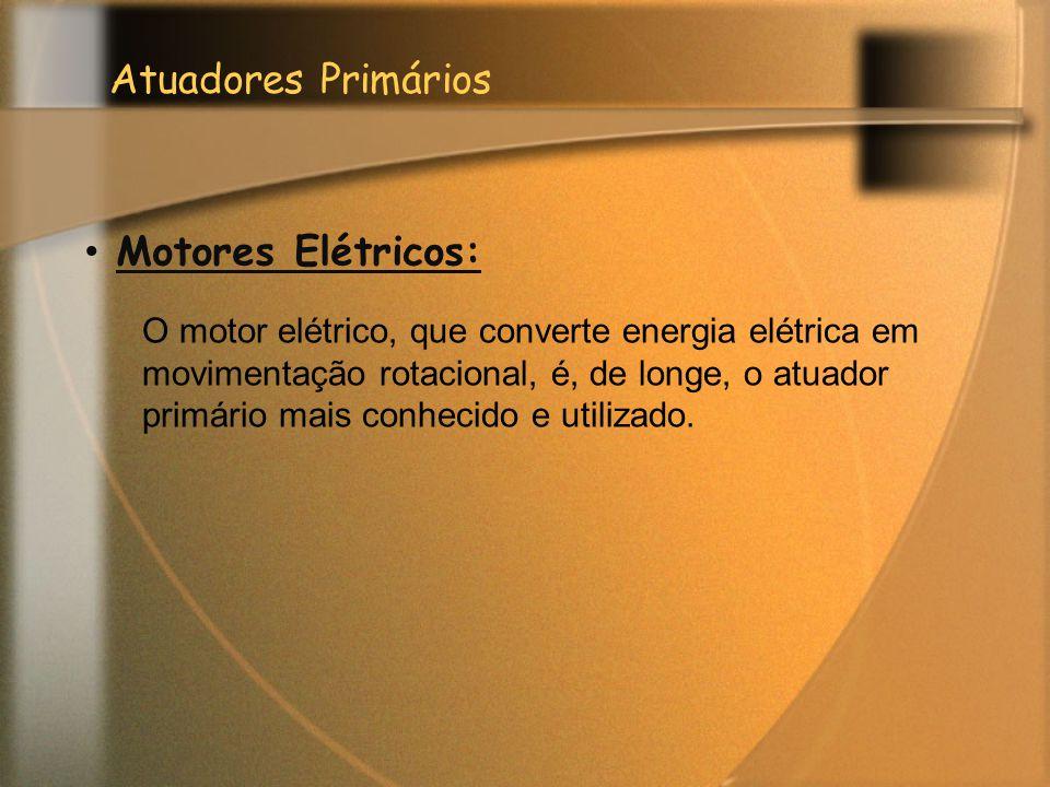 Atuadores Primários Motores Elétricos: O motor elétrico, que converte energia elétrica em movimentação rotacional, é, de longe, o atuador primário mai