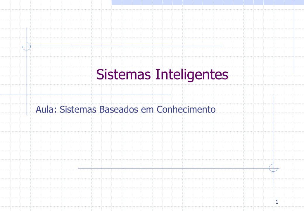 Sistemas Inteligentes Aula: Sistemas Baseados em Conhecimento 1