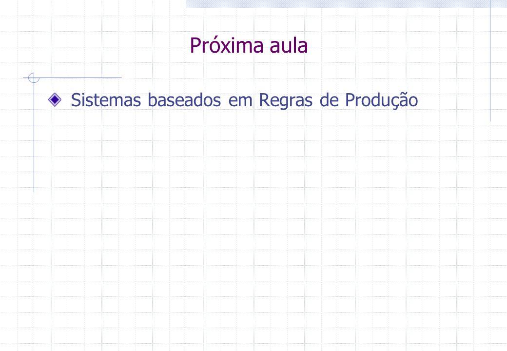 Próxima aula Sistemas baseados em Regras de Produção