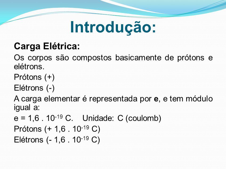 Introdução : Carga Elétrica: Os corpos são compostos basicamente de prótons e elétrons. Prótons (+) Elétrons (-) A carga elementar é representada por