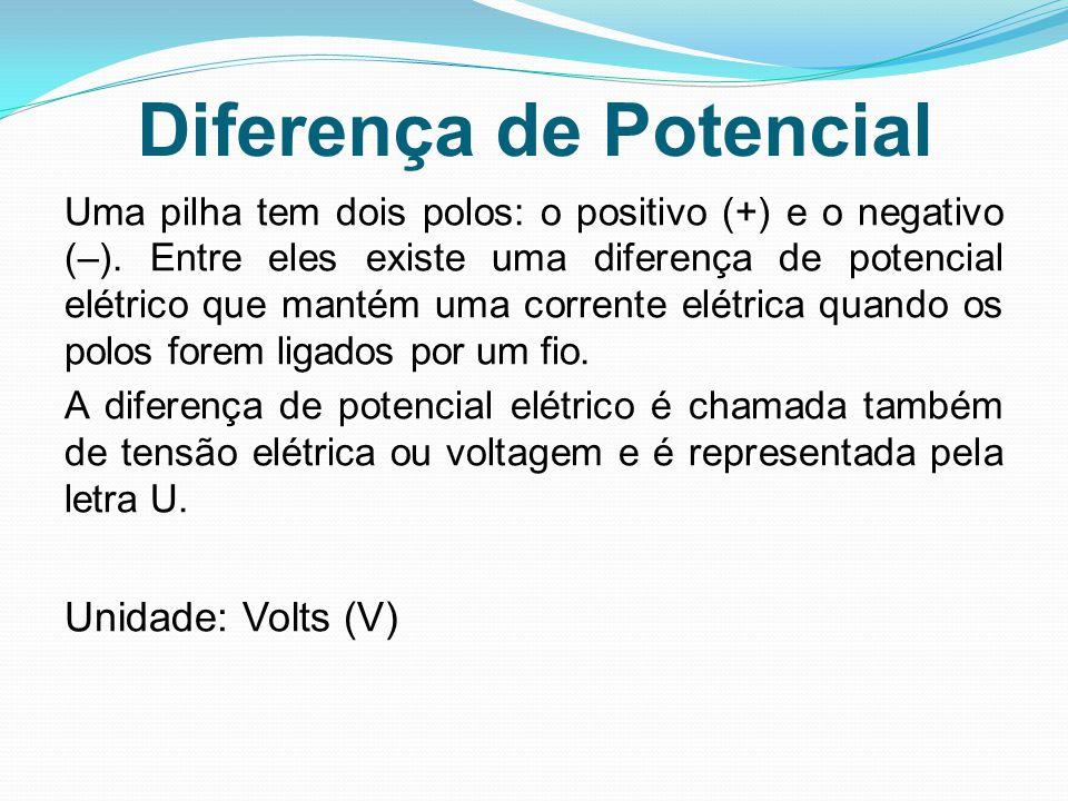 Diferença de Potencial Uma pilha tem dois polos: o positivo (+) e o negativo (–). Entre eles existe uma diferença de potencial elétrico que mantém uma