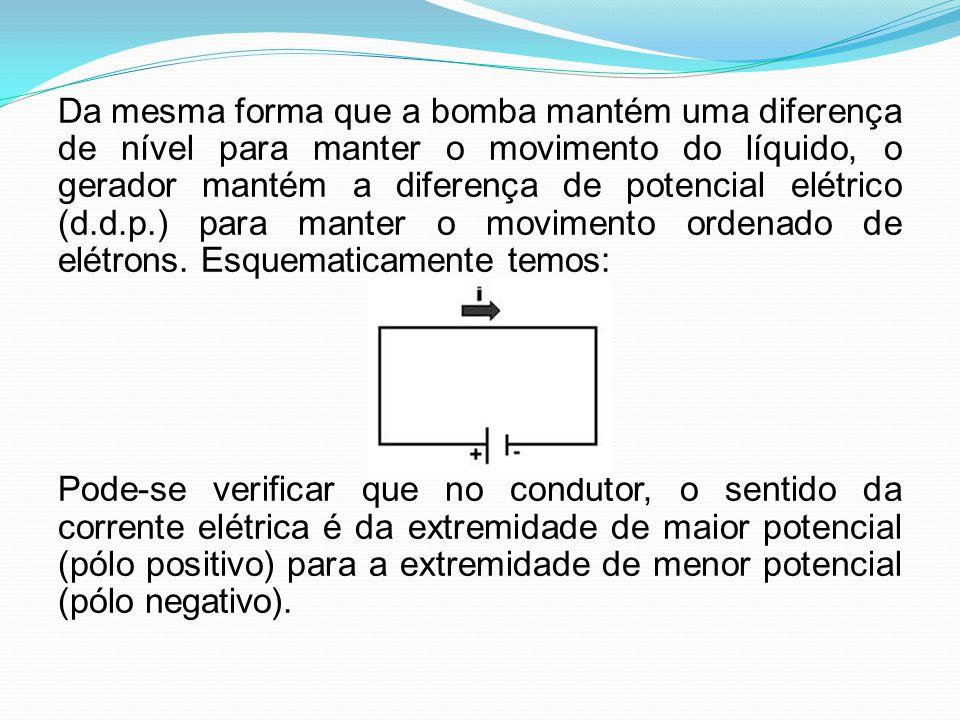 Da mesma forma que a bomba mantém uma diferença de nível para manter o movimento do líquido, o gerador mantém a diferença de potencial elétrico (d.d.p