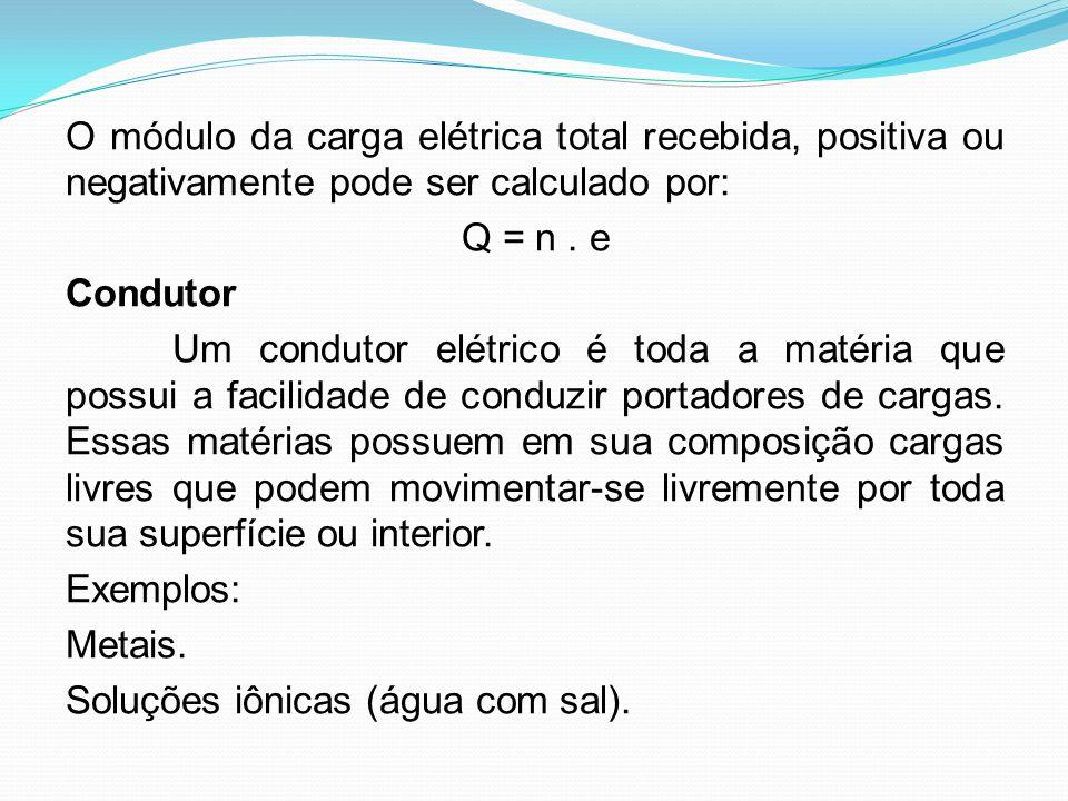O módulo da carga elétrica total recebida, positiva ou negativamente pode ser calculado por: Q = n. e Condutor Um condutor elétrico é toda a matéria q