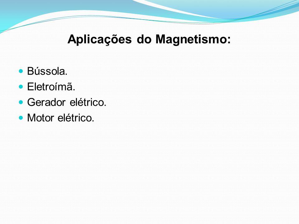 Aplicações do Magnetismo: Bússola. Eletroímã. Gerador elétrico. Motor elétrico.