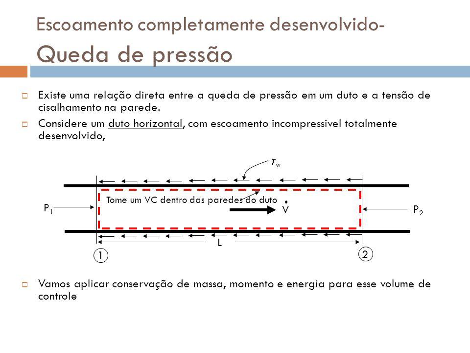 Escoamento completamente desenvolvido- Queda de pressão  Existe uma relação direta entre a queda de pressão em um duto e a tensão de cisalhamento na