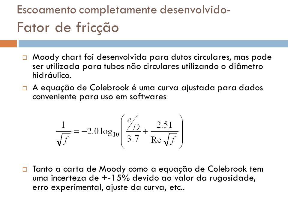 Escoamento completamente desenvolvido- Fator de fricção  Moody chart foi desenvolvida para dutos circulares, mas pode ser utilizada para tubos não ci