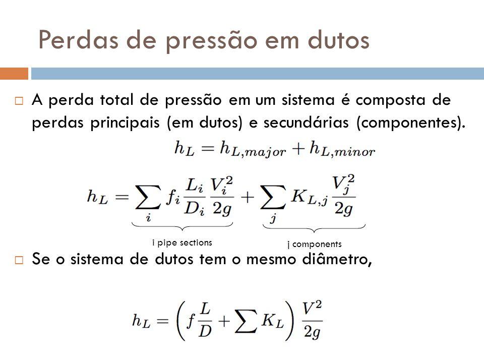 Perdas de pressão em dutos  A perda total de pressão em um sistema é composta de perdas principais (em dutos) e secundárias (componentes).  Se o sis