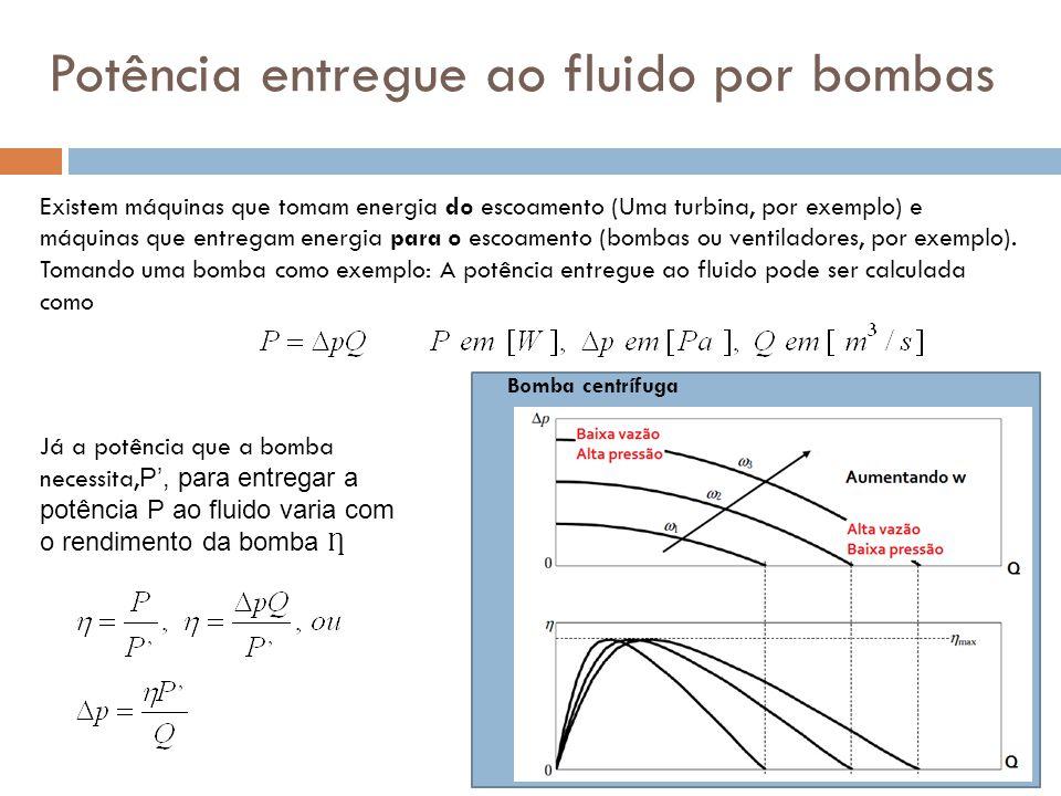 Potência entregue ao fluido por bombas Existem máquinas que tomam energia do escoamento (Uma turbina, por exemplo) e máquinas que entregam energia par