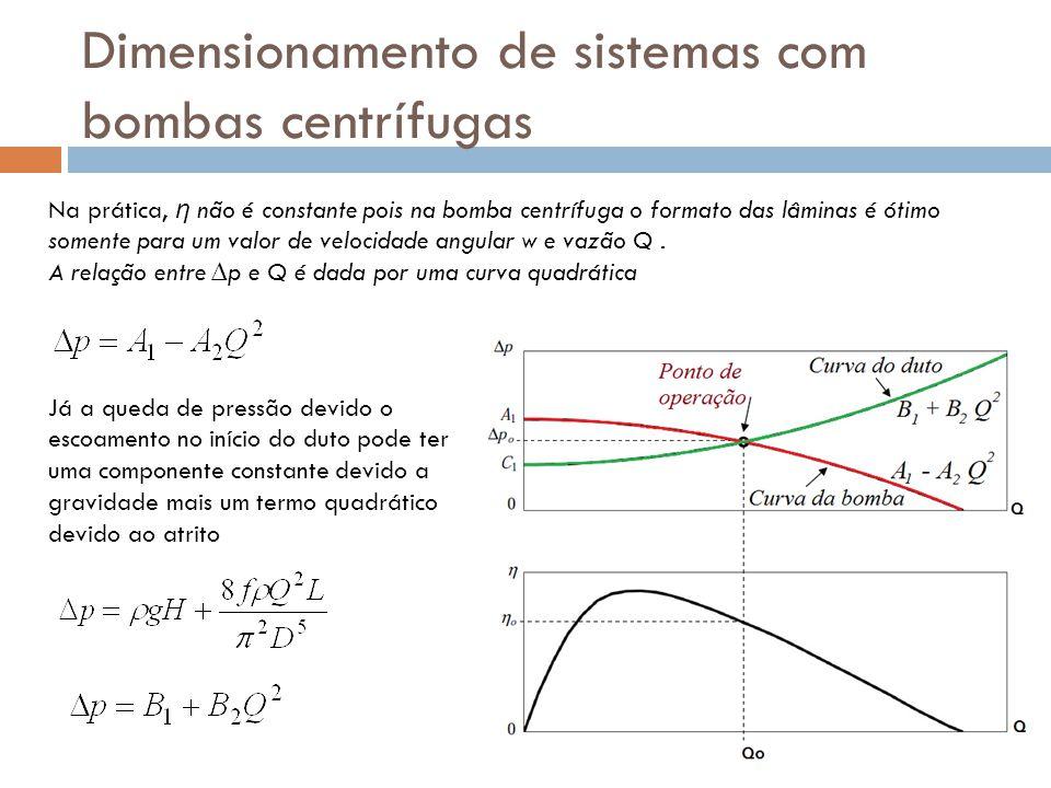 Dimensionamento de sistemas com bombas centrífugas Na prática, η não é constante pois na bomba centrífuga o formato das lâminas é ótimo somente para u
