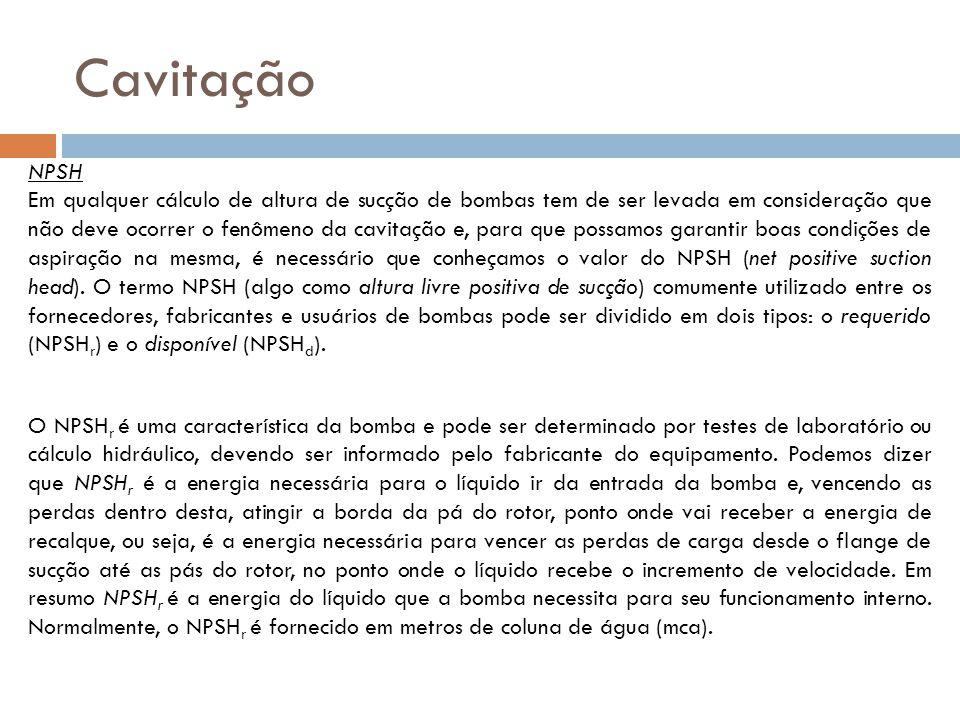 Cavitação NPSH Em qualquer cálculo de altura de sucção de bombas tem de ser levada em consideração que não deve ocorrer o fenômeno da cavitação e, par